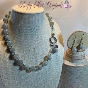 Blue Calcite Necklace Set (grey) 1