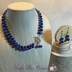 Blue Double Strand Necklace Set 1