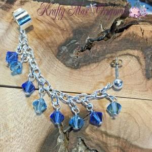 Blue on Blue Sterling SIlver Earring-Cuff 2