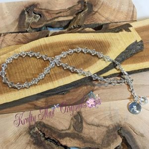 Clear Swarovski Crystal and Stainles Steel Beads Anklet