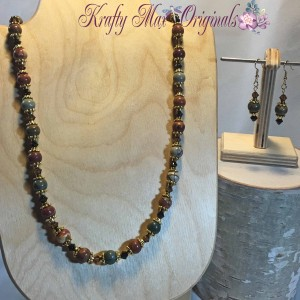 Fall Jasper with Gold and Swarovski Crystals 1