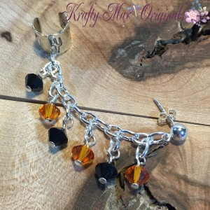 Garnet and Gold Sterling SIlver Earring-Cuff 1