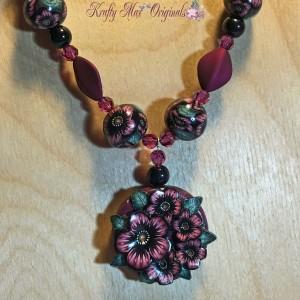 Kimi Purple and Black Flower with Swarovski Necklace Set 3