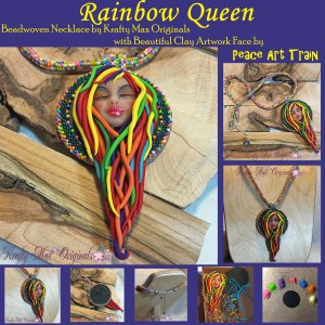Rainbow Queen Beadwoven Necklace with Peach Train Art