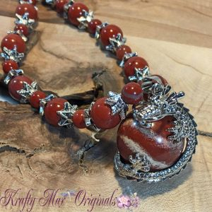 Red Dragon with Claw End-Caps Necklace Set
