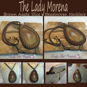 The Lady Morena - Brown Agate Slice Beadwoven Necklace 1