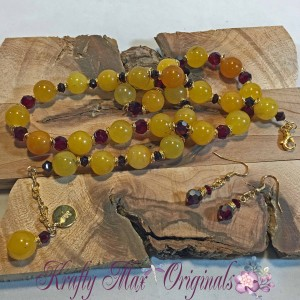Yellow Jade and Red Swarovski Crystals Necklace Set 1