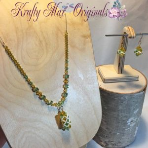Yellow and Peridot (green) Swarovski Crystal Beadwoven Necklase Set 1