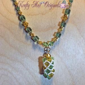 Yellow and Peridot (green) Swarovski Crystal Beadwoven Necklase Set 2