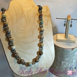 Brown and Grey Gemstone and Czech Glass Necklace Set