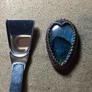 Labradorite Drop Bdwvn Necklace wrk 7b