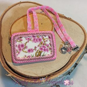 Pink Cherry Blossom Ceramic Beadwoven Necklace 1