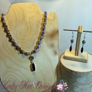 Purple Swarovski Crystals and Gemstones with Purple and Green Necklace Set