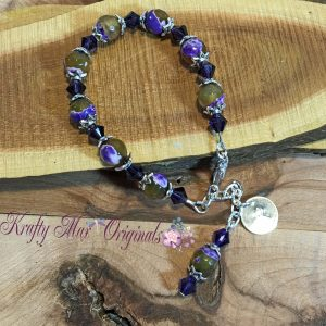 Purple and Green Gemstone with Swarovski Crystals Bracelet