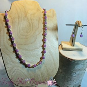 Soft Pink/Purple Quartz and Swarovski Crystals with Silver Plated Beads and Findings Necklace Set