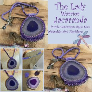The Lady Warrior Jacaranda – Purple Beadwoven Agate Slice Wearable Art Necklace