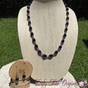Black Onyx and Purple Swarovski Crystal Necklace Set 1