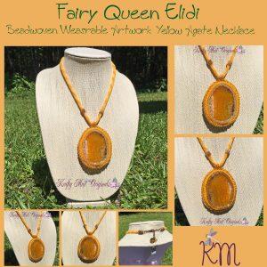 Fairy Queen Elidi - Beadwoven Yellow Agate Necklace 1