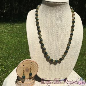 Green Agate Swarovski Crystal and Gold Necklace Set 1