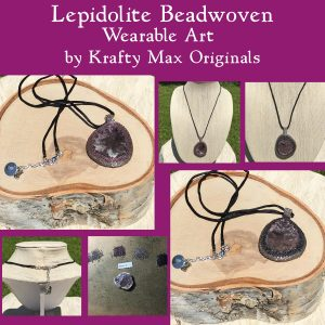 Lepidolite Beadwoven Wearable Art 1