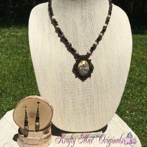Stone Cameo Necklace Set 1
