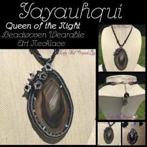 Yayauhqui - Queen of the Night - Beadwoven Wearable Art Necklace