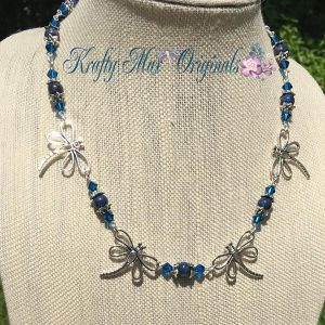 Blue Dragons and Swarovski Crystals Necklace Set 4