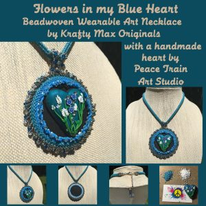 Flowers in My Blue Heart Beadwoven Necklace with Peach Train Art copy
