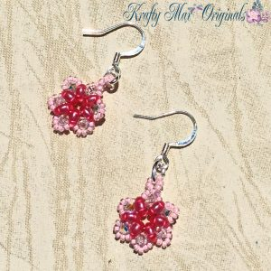 Simple Pink Beadwoven Earrings