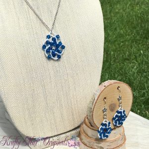 Blue and White Spiral Beadwoven Necklace Set 3