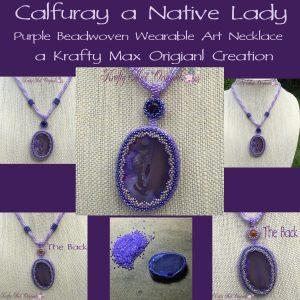 Calfuray a Native Lady - Purple Beadwoven Wearable Art Necklace