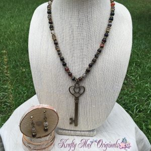 Fall Agate with Gold Key Necklace Set