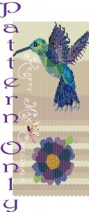 Hummingbird with stripes and flower Amulet Bag Pattern - RETAIL copy