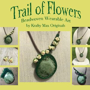 Trail of Flowers Beadwoven Wearable Art Necklace