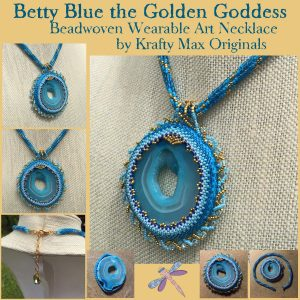 Betty Blue the Golden Goddess Beadwoven Wearable Art Necklace 1