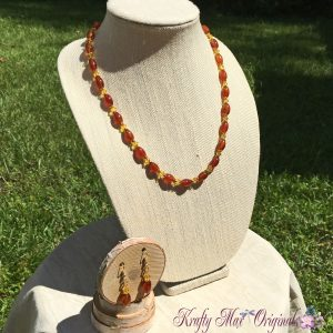 Orange Carnelian and Sunshine with Swarovski Crystals Necklace Set