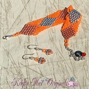 Orange and Silver Diamond Duo Bracelet and Earrings Set