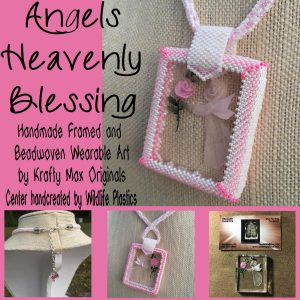 Angels Heavenly Blessings Handmade Framed Beadwoven Wearable Art Necklace