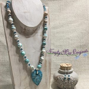 Amazonite with Swarovski Crystals and Silver Plated Beads (Teal and White with Heart) Necklace Set