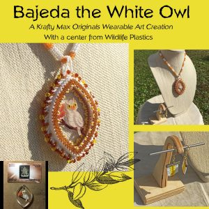 Bajeda the White Owl Wearable Art Necklace with Center from Wildlife Plastics