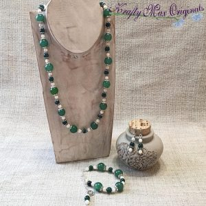 Green on Green with Ivory Thrown In – 3 Piece – Necklace, Bracelet and Earrings Set