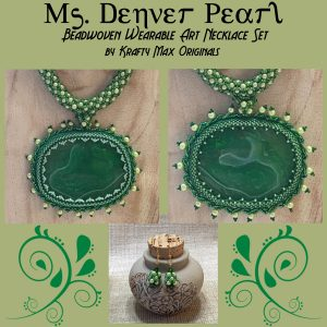 Ms Denver Pearl Green Agate and Pearl Wearable Art Necklace and Earrings Set
