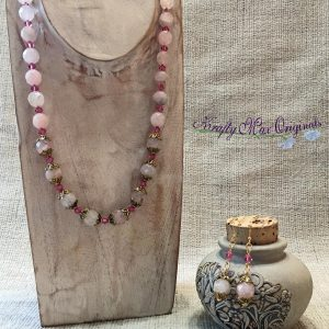 Pink Quartz and Swarovski Crystals with Gold Plated Findings Necklace Set
