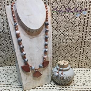 Pink Zebra Jasper and Red Jasper Fans with Copper Necklace Set