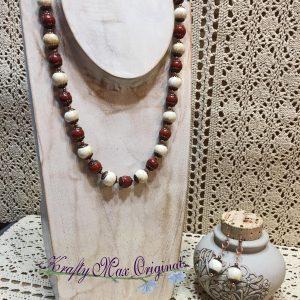 Red Jasper and Cream Magnesite Necklace Set