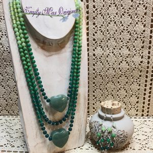 Triple Strand Umber Green Necklace with Jade Hearts and Earrings