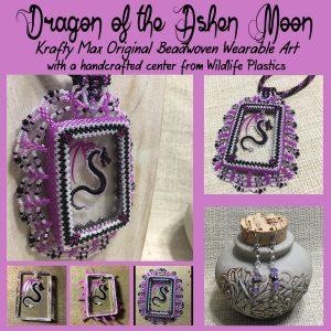 Dragon of the Ashen Moon Beadwoven Wearable Art Necklace Set