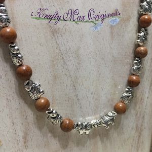 Silver Plated Elephants and Beautiful Brown Gemstone Necklace and Earrings Set
