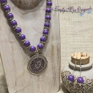 Purple Magnesite with a Sun from Grandmothers Stash and Silver Plated Findings Necklace Set