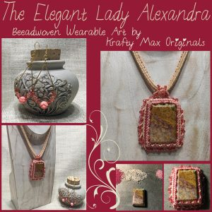 The Elegant Lady Alexandra Beadwoven Wearable Art – Lacy and Mauve Necklace Set